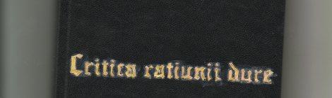 """Sanda Watt, Igor Mocanu (ed.), """"Immanuel Kunt. Critia ratiunii dure"""", carte-obiect, exemplar unic, manufactura, expus în cadrul expoziției-manifest """"Cheap replicas"""" (în colaborare cu Sanda Watt), mixed media, Galeria Paradis Garaj, București, RO."""