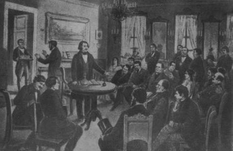 "Taburin, ""Gogol citește din ""Revizorul"" artiștilor Teatrului Mic"", gravură, 5 noiembrie 1851. Portretele schițate de Taburin: N.V. Gogol, P.M. Sadovskii, M.P. Pogodin, D.T. Lenskii, M.S. Șepkin, V.I. Jivokini, S.V. Șumkii, I.S. Turghenev"