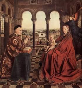 1.Jan van Eyck, Fecioara cancelarului Rolin (~1435), ulei pe pânză, 66 cm x 62 cm, Musée du Louvre, Paris.