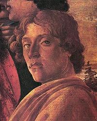 2.Sandro Botticelli, autoportret, detaliu din compoziția Adorația magilor (~1476), Galleria degli Uffizi, Florența.
