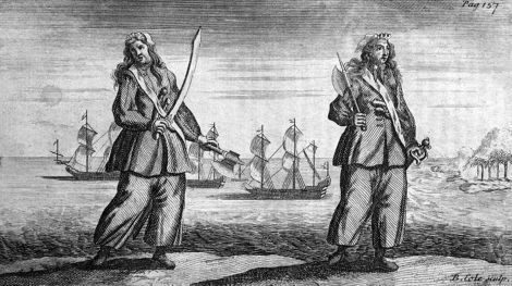 """Ann Bonny și Mary Read"", gravură de Benjamin Cole (cca. 1724), după ""The LIfe of Mary Read"" (1724) de Daniel Defoe și Charles Johnson."