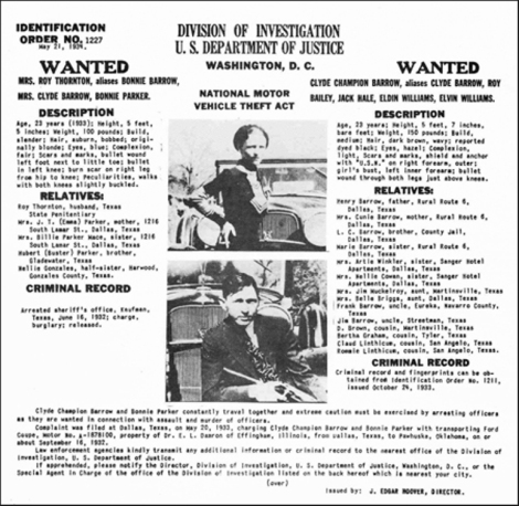 Identification Order No. 1227 of Bonnie Parker and Clyde Champion Barrow, Federal Bureau of Investigation (May 23, 1934)