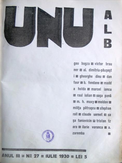 Fig. 7: UNU alb, coperta revistei, Anul III, No,  27, iulie 1930.