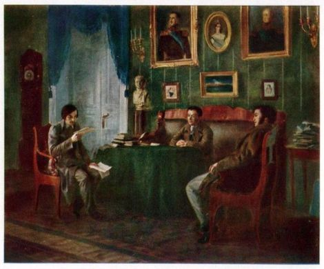 "Piotr I. Geller, ""Pușkin, Jukovskii și Gogol la Palat"" (1910), Muzeul ""A.S. Pușkin""."