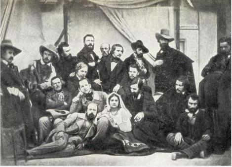Gogol în mijlocul artiștilor ruși de la Roma. Fotografie de grup.  Serghei Levițkii, 1845