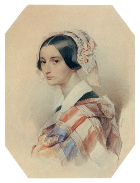 "P.F. Sokolov, ""Portretul Aleksandrei Osipovna Smirmova-Rosset"", acuarela, 1835"