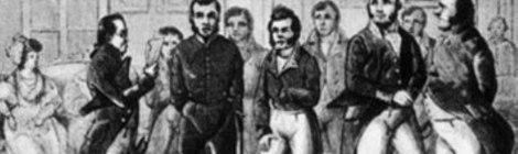 """Vasilii Andreevici Karatîghin și Mihail Semionovici Şepkin în """"Revizorul"""" lui Gogol, reprezentație din 1836 de la Teatrul din Petersburg. Gravură. 1836"""