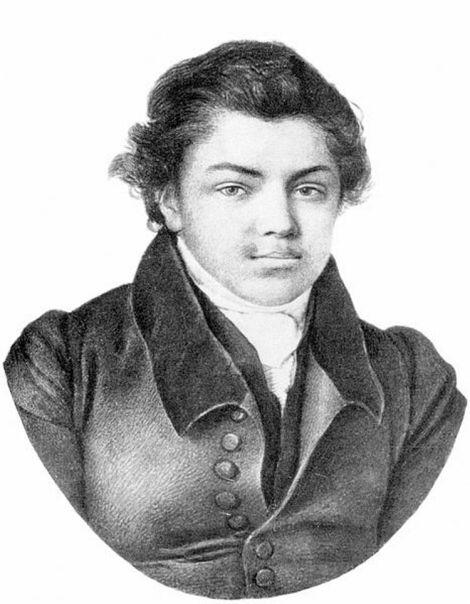 """Portretul poetului Nikolai Iazîkov (Derpt, 1822), acuarelă publicată în ediția de """"Scrieri"""" din 1982, Leningrad."""