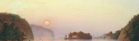 """A.I. Ivanov-Goluboi, """"Pereprava N.V. Gogolea cerez Dnepr"""" [""""Trecerea lui N.V. Gogol peste Nipru""""] (1845)."""
