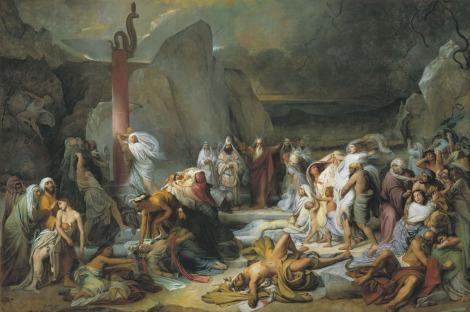 Feodor Antonovici Fidelio Bruni, Mednîi zmii / Șarpele de aramă, 1841, ulei pe pânză, 565 x 852 cm. Sursa: muzei-mira.com