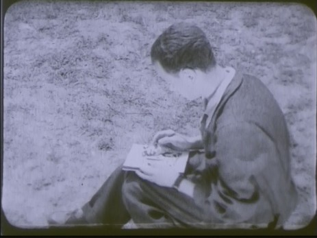 "Fig. 1: Cadru 1, subiect f. ""Expoziția lui Jules Perahim"" din ""Jurnalul sonor ONC nr. 13 / 1945"", film, 35 mm, a/n, Documentar, România, ANFR, 1945, Producător: ONC. Prin amabilitatea Cinematecii Române – Arhiva Naționale de Filme din România © 2013."