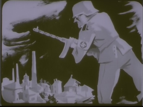 "Fig. 4: Cadru 4, subiect f. ""Expoziția lui Jules Perahim"" din ""Jurnalul sonor ONC nr. 13 / 1945"", film, 35 mm, a/n, Documentar, România, ANFR, 1945, Producător: ONC. Prin amabilitatea Cinematecii Române – Arhiva Naționale de Filme din România © 2013."