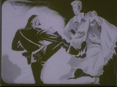 "Fig. 5: Cadru 5, subiect f. ""Expoziția lui Jules Perahim"" din ""Jurnalul sonor ONC nr. 13 / 1945"", film, 35 mm, a/n, Documentar, România, ANFR, 1945, Producător: ONC. Prin amabilitatea Cinematecii Române – Arhiva Naționale de Filme din România © 2013."