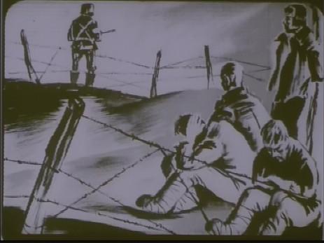 "Fig. 6: Cadru 6, subiect f. ""Expoziția lui Jules Perahim"" din ""Jurnalul sonor ONC nr. 13 / 1945"", film, 35 mm, a/n, Documentar, România, ANFR, 1945, Producător: ONC. Prin amabilitatea Cinematecii Române – Arhiva Naționale de Filme din România © 2013."