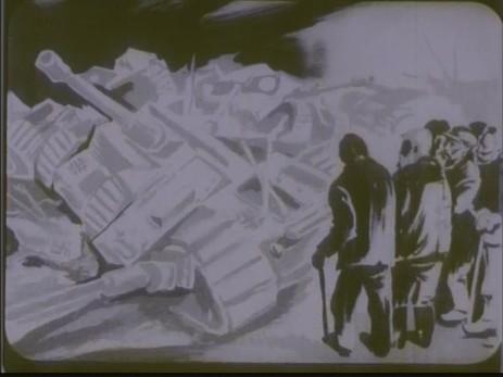 "Fig. 7: Cadru 7, subiect f. ""Expoziția lui Jules Perahim"" din ""Jurnalul sonor ONC nr. 13 / 1945"", film, 35 mm, a/n, Documentar, România, ANFR, 1945, Producător: ONC. Prin amabilitatea Cinematecii Române – Arhiva Naționale de Filme din România © 2013."