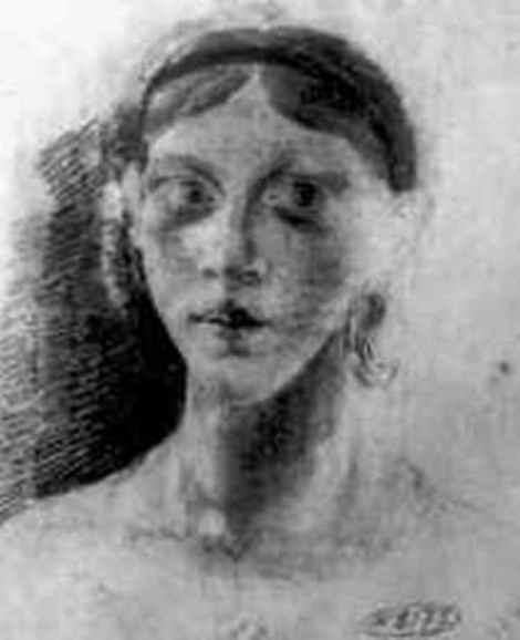 """N.V. Gogol, """"Portret de femeie"""" (1820), desen. Sursa: ngogol.ru"""