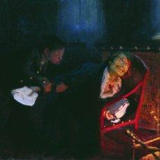 """Ilia Repin, """"Gogoli sjîgaiet rukopisi vtoroi ceasti 'Mertvîh duș'"""" [""""Gogol arde manuscrisul părții a doua din 'Suflete moarte'""""] (1908), ulei pe pânză, 81 x 134,5 cm, Galeria de Stat Tretiakov, Moscova."""