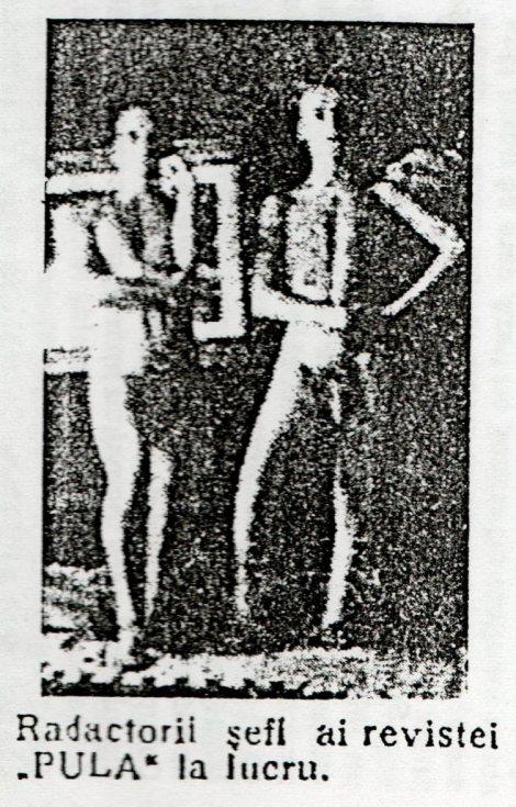 """EDITORS IN CHIEF OF """"PULA"""" MAGAZINE AT WORK. Jules Perahim, Gherasim Luca, Pulă. Revistă de pulă modernă, 1 October 1931."""